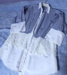 Zara duga plava čipkasta prugasta košulja xs
