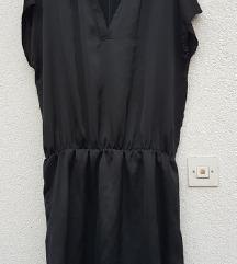 Crna oversized haljina (saten like) L/XXl