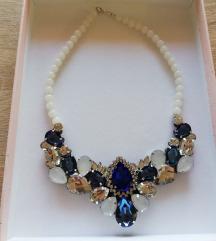 Bijelo plava raskošna ogrlica!