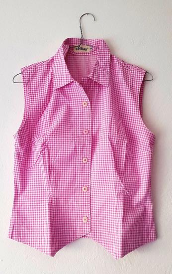 S.Oliver ženska rozo-bijela karirana košulja