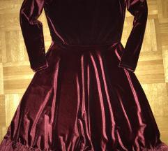 Plišana bordo haljina