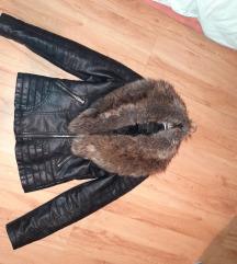 Topla kožna jakna s krznom (s vel.)