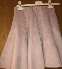 Prljavo roza kožna suknja sa čipkom