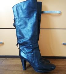 Kožne crne čizme visoka peta