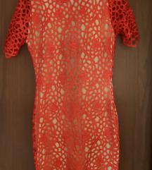 NOVA čipkana crvena haljina