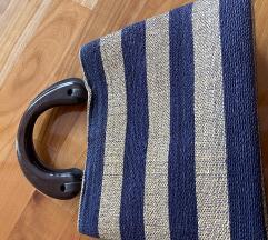 Plavo zlatna prugasta torba