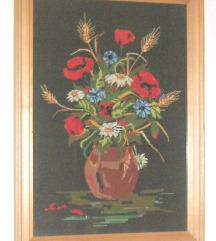 goblen cvijeće u vazi petit point