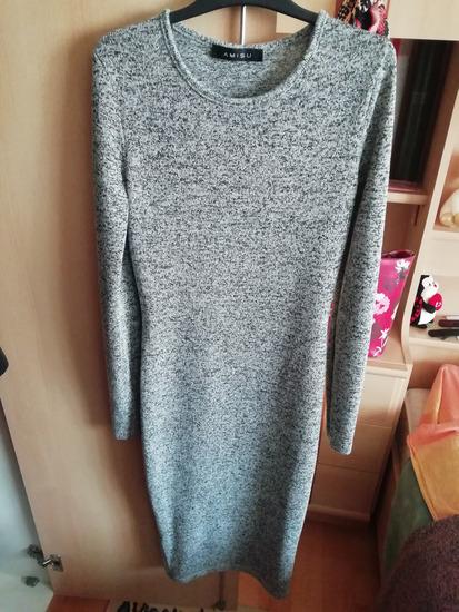 Siva midi pamučna haljina