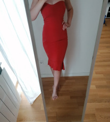 Midi haljina boje cigle  s volanom Desiinia dizajn