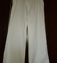 Lanene bijele,široke hlače 42