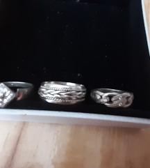 Lot tri  prstena srebro 925