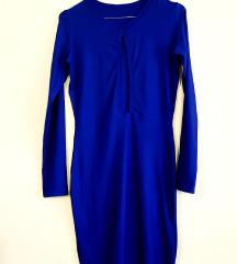 Ženska bodycon tamnoplava haljina s izrezom