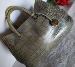Furla GISSELE CROC EMBOSSED LEATHER SHOPPER TOTE