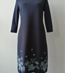 Modra Orsay haljina s izvezenim cjetovima