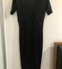 Zara crna velvet midi haljina