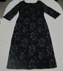 Plava haljina s apliciranim ružama