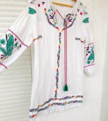 MANGO bohemian bijela izvezena haljina