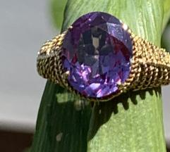 Prsten 14k zlato, safir