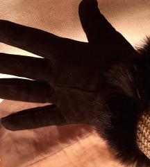 Crne ženske rukavice brušena koža&krzno M