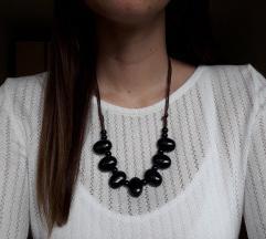 Podesiva crna ogrlica-ručni rad