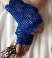 Damske, kraljevsko plave čipkaste rukavice heklane