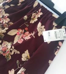 [S ETIKETOM] Zara midi floral suknja / XL, L