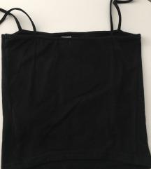 H&M crni uski top bez rukava, kratki kroj