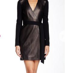 Crna haljina s kožnim preklopom