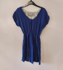 Plava haljina s cipkom, M, 30kn