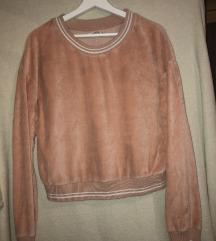 Velvet ružičasta majica Bershka