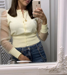 Zara blogger organza knit pulover žuti
