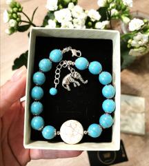 Narukvica, kamene perlice, slonić 🐘✨