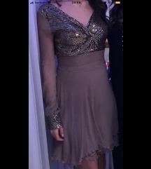 Zlatna - bež šljokasta haljina