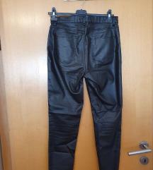 Uske crne kožne hlače M