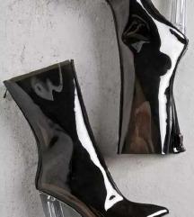 PVC prozirne crne čizme