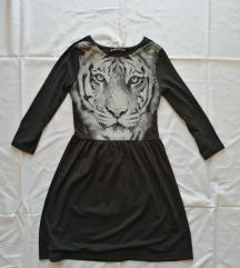 Crna skater haljina sa printom tigra