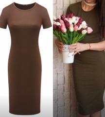 Smeđa pencil casual  haljina