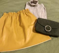 %%Zara kožna suknja boje senfa kao nova