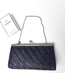 Tamno plava clutch retro torbica