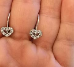 Srce sa cirkonima srebrne naušnice