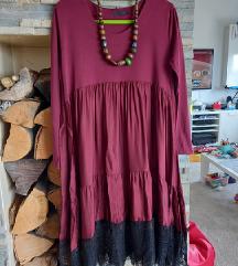 Predivna bordo haljina s čipkom 42/44