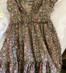 ljetna maslinasto zelena i roza haljina