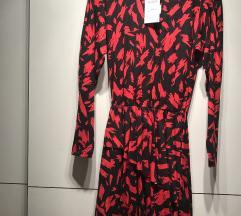 Zara crveno/crna lepršava haljina