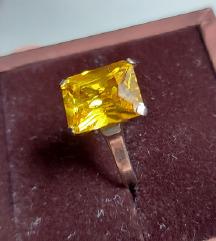 prsten pravo srebro i citrin 925 16mm