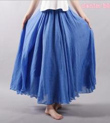 Duga plava suknja