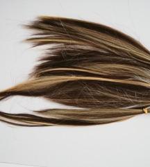 7 snopova smeđe kose sa plavim pramenovima