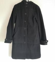 Očuvani crni midi kaput, jakna, uklj poštarina