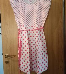Pin up haljina (bijela s rozim točkicama)
