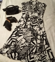 Crno bijela pamučna haljina Bonita