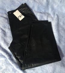 Zara crne oversized loose kožne hlače M 38